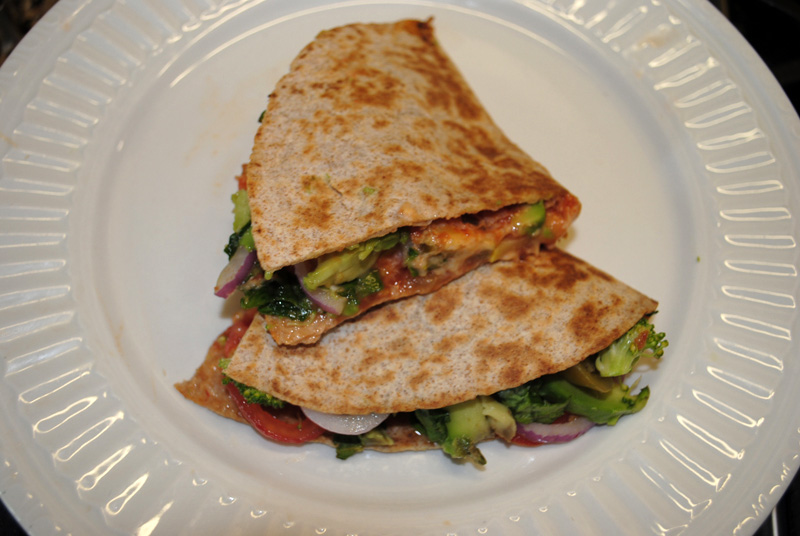 Spinach Squash Quesadillas with Salsa - Serve