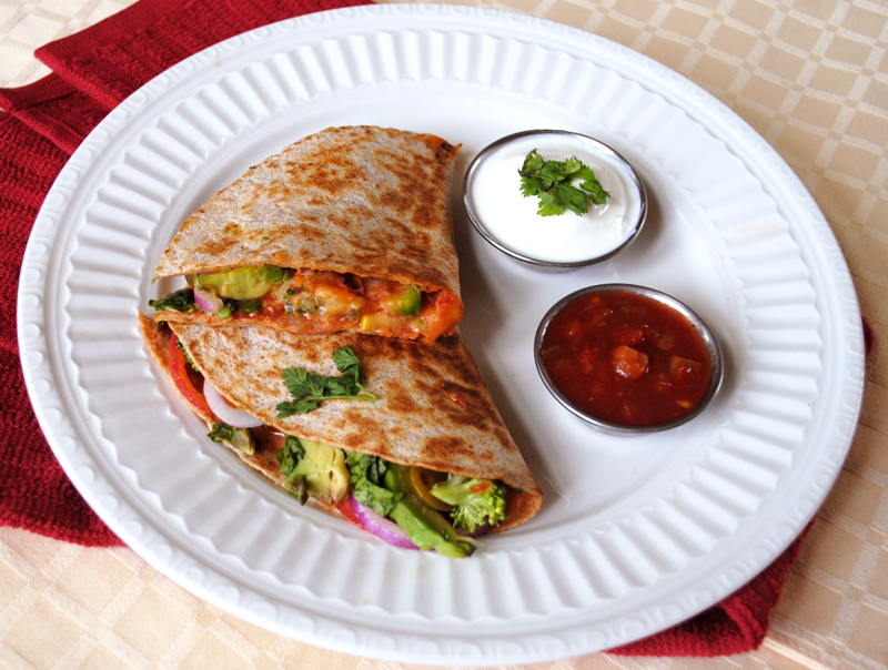 Spinach Squash Quesadillas with Salsa