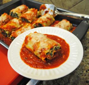 Mushroom-Spinach Lasagna Roll Ups
