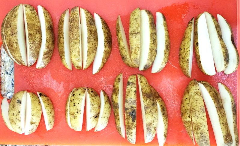 Oven-Baked Potato Wedges - Cutting Wedges - Recipe Treasure